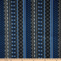 Techno Stretch Scuba Knit Tribal Blue/Black
