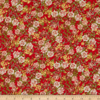 Peachskin Small Roses Red/Pink
