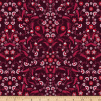 Stoffabric Denmark AVALANA Poplin Small Floral And Leaves Red