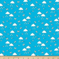 Play All Day Clouds And Bees Allover Blue