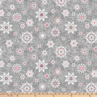 """Digital Frozen Melodies 108"""" Falling Snowflakes Gray Red"""