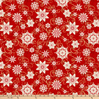 """Digital Frozen Melodies 108"""" Falling Snowflakes Red"""