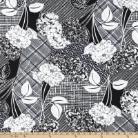 Fabtrends ITY Stretch Knit Puff Floral Black/White