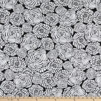 Fabtrends ITY Stretch Knit Puff Bloom Roses Black/White