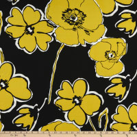 Fabtrends ITY Stretch Knit Puff Bloom Roses Black/Yellow