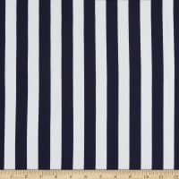 Fabtrends Washer Crepe Ghost Stripe Navy/White