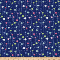 Wilmington Sew Little Time Button Flowers Blue