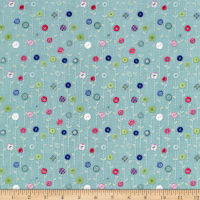 Wilmington Sew Little Time Button Flowers Teal