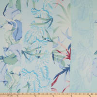 Texco Chiffon Leaf Tropical Print Pale Blue/Peri