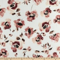 Texco Washed Chiffon Watercolor Floral Print Off White/Peach