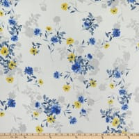 Washed Chiffon Floral Print Off White/Yellow