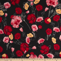 Texco Rayon Spandex Stretch Jersey Knit Floral Print Black/Red