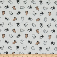 Fabric Merchants Playful Prints Double Brushed Poly Stretch Jersey Knit Lil Frenchies White/Brown/Black