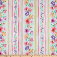 Timeless Treasures Digital Spring Song Watercolor Floral Stripe White