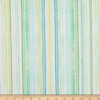 Timeless Treasures Digital Spring Song Watercolor Stripe Green