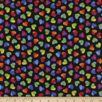 Timeless Treasures Hearts & Dots Large Ombre Hearts Black