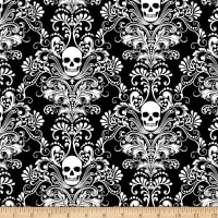 Timeless Treasures Glow In The Dark Skull Damask Negative Glow