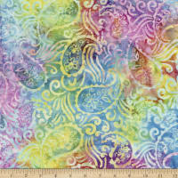 """Timeless Treasures Tonga Batik 106"""" Wide Back Paisley In The Wind Icing"""