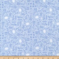 Henry Glass Flannel Little Peepers Tiny Monotone Animal Linework Blue