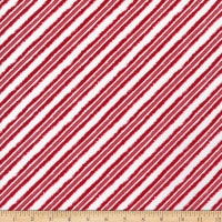 Henry Glass Welcome Winter Bias Candy Cane Stripe Red/White