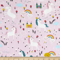 Telio Cotton Twill Unicorn Print Pink