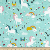 Telio Cotton Twill Unicorn Print Mint