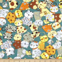 Telio Cotton Twill Cat Print Green