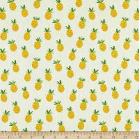 Telio Playday Cotton Poplin Pineapple Print Yellow