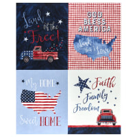 "Michael Miller Fabrics Land That I Love Freedom 36"" Panel Blue"