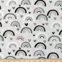 3 Wishes Don't Forget To Dream Flannel Rainbow Hearts Gray