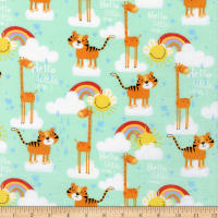 3 Wishes Welcome To The Jungle Flannel Giraffe And Tiger Turquoise