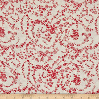 Fabric Merchants Margaret Rayon Challis Thin Floral Vines Ivory/Red