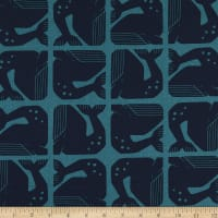 Cotton+Steel By the Seaside Grumpy Whale Navy