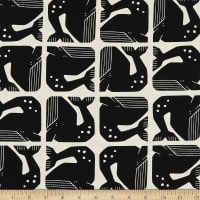 Cotton+Steel By the Seaside Grumpy Whale Unbleached Black