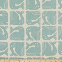Cotton+Steel By the Seaside Grumpy Whale Canvas Aqua
