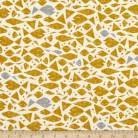 Cotton+Steel By the Seaside Happy Fish Unbleached Yellow