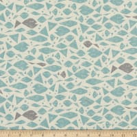 Cotton+Steel By the Seaside Happy Fish Unbleached Aqua