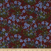 Cotton+Steel Rifle Paper Co. Meadow Cornflower Burgundy