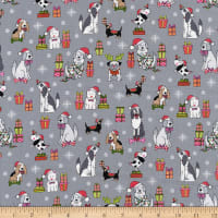 Andover/Makower Yappy Christmas Dog Scatter Silver