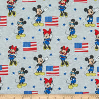 Disney Patriotic Mickey Minnie American Flag Digital Heather Grey