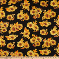 Benartex Autumn Elegance Autumn Sunflower Black