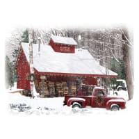 """Hoffman Digital Home For The Holidays 29"""" Red Truck & Barn Panel Snow"""
