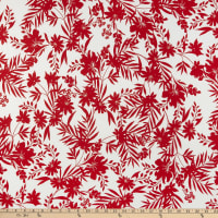 Fabric Merchants ITY Stretch Jersey Knit Tropical Floral White/Red