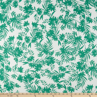 Fabric Merchants ITY Stretch Jersey Knit Tropical Floral White/Kelly Green