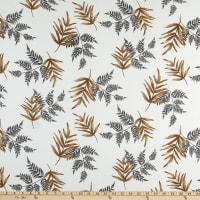 Fabric Merchants ITY Stretch Jersey Knit Tropical Palm Leaves White/Gray
