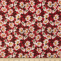 Fabric Merchants ITY Stretch Jersey Knit Daisy Field Red/Brown