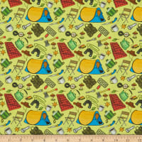 Marshall Dry Goods Lets Go Camping Yellow