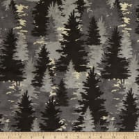 Clothworks Wild Life Flannel Forest Pewter