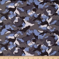 Clothworks Wild Life Flannel Camouflage Pewter