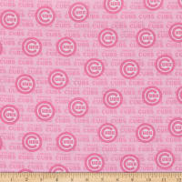 MLB Cotton Broadcloth Chicago Cubs Pink